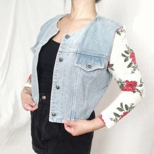 VTG 90's Floral Sleeve Denim Jacket